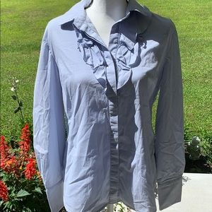 Large Tahari Ladies Baby Blue Button Down Shirt